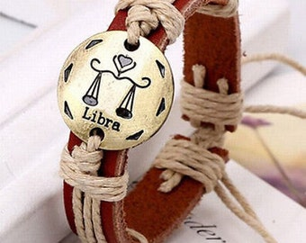 Mens and Women's Zodiac Sign Libra Leather Adjustable Bracelet - Free Shipping