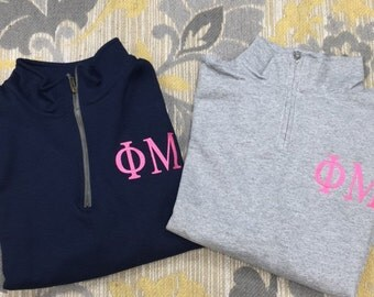 Custom Phi Mu 1/4 Zip Pullover Sweatshirt in Your Color Choices