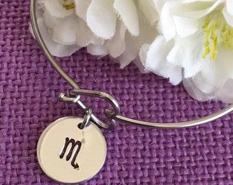 Zodiac Jewelry - Zodiac Bracelet - Zodiac Sign Jewelry Bracelet - Astrology - Hand stamped Bracelet - Heart Clasp