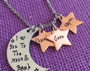 Mom Necklace - Mother's Day gift - I love you to the moon and back - Mother's Jewelry - Mom Necklace - Name Star Necklace - Gift for Mom