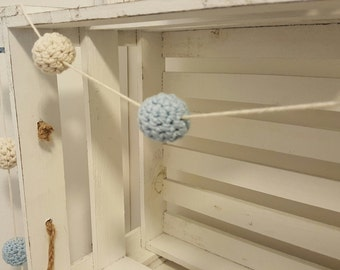 Crochet Ball Garland in Blue and Cream. Home decor