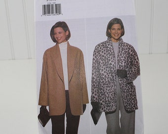 Long Shawl Collar Jacket Pattern, Uncut Sewing Pattern, Butterick 5298, Size 8-10-12