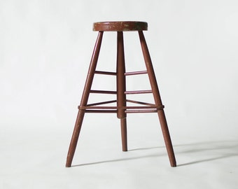 Doweled Wood Industrial Shop Stool