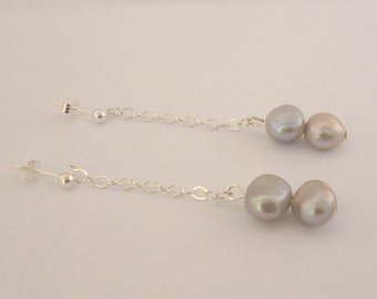 Sterling Silver and Grey Freshwater Pearl Earrings