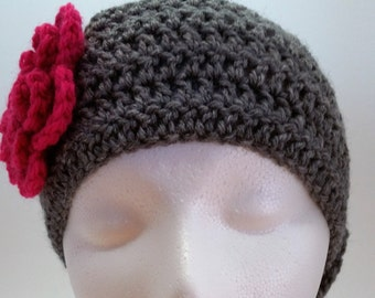 Crocheted Two-Toned Flower Headwrap-Pink and Grey