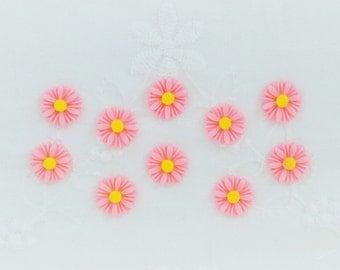 11mm Kawaii Pink Daisy Decoden Cabochons - 10 piece set