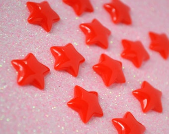 17mm Kawaii Bright Red Star Decoden Cabochons - 12 piece set