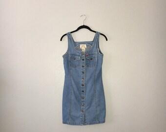 Vintage Button Down Denim Mini Dress