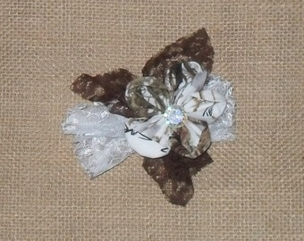 True Timber White Snow camo  with brown & white Lace country cuties hair clips!. Ready to Ship ! 4X4