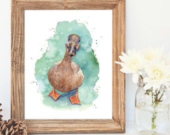 Duck, Watercolour Giclee Print