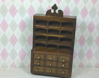 MINIATURE CABINET, CUPBOARD or Hutch, 1:12 Scale, Shelves & Drawers, Vintage Dollhouse Furniture
