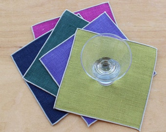 """Party Coasters in Jewel Tones, Fabric Coasters, Linen Coasters, Co-Worker Gift, Hostess Gift, Wedding Coasters, Set of 5, 5"""" sq."""