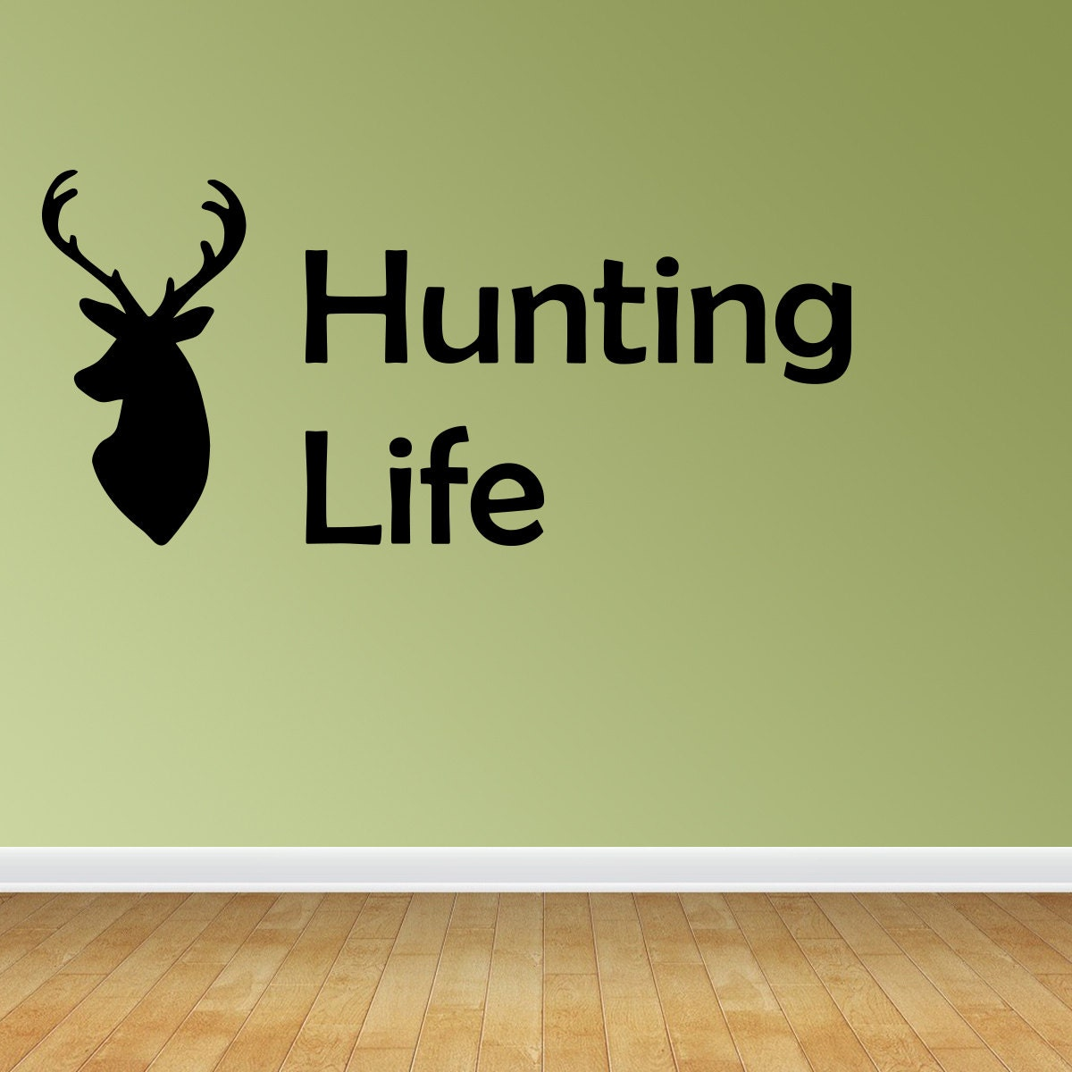 Wall decal quote hunting life wall decal deer hunting decal for Hunting wall decals
