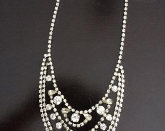Vintage clear rhinestone bib necklace