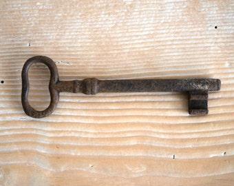 Antique door key, rusty skeleton key 4 1/2 long, hardware salvage from Italy