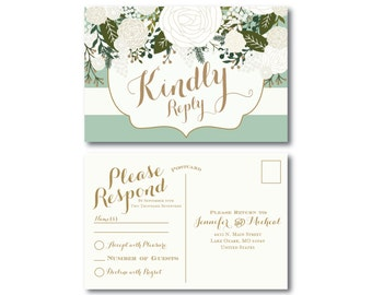 Vintage Wedding RSVP Postcard - Fall Wedding - Vintage Floral - Floral Wedding - Vintage Wedding - RSVP Postcard - Wedding Postcard - RSVP