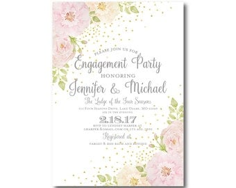 Floral Engagement Party Invitation, Watercolor Floral, Floral Wedding, Rustic Wedding, Watercolor Flower, Engagement Party Invitation #CL134