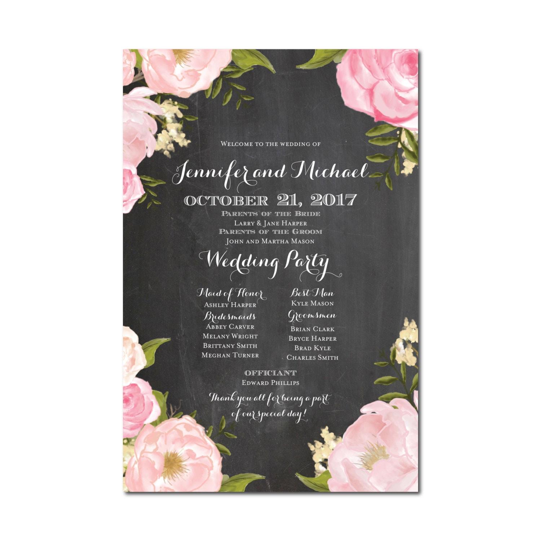 Wedding Program Sign Welcome Poster