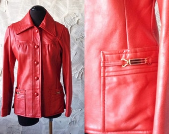 1970s Lipstick Red leather Jacket