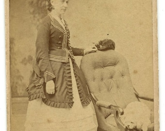1870s Woman & Dog CDV Photo Carte de Visite Antique Vintage Victorian Terrier Fashion