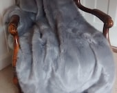 Powder Puff Grey Faux Fur Throw