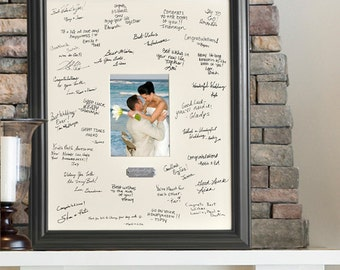 Wedding Guest Signature Frame - Personalized Wedding Wishes Signature Frame with engraved plate - Wedding Gift