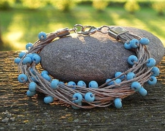 Boho Bracelet, Cord Beaded Bracelet, Minimalist Jewelry, Multistring Bracelet, Textile Jewelry, Fiber, Eco Friendly Gift, Thread Bracelet