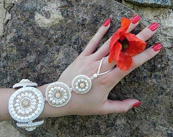 Slave bracelet, Ring bracelet, Finger bracelet, Beaded Bracelet Ring, Wedding Bracelet, Bridal Bracelet, Bohemian Bracelet