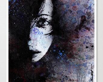 Photographic Print, Woman portrait, Graffiti art, Modern wall art, Pop art print, Abstract sensual portrait, Photo print, Girl eyes