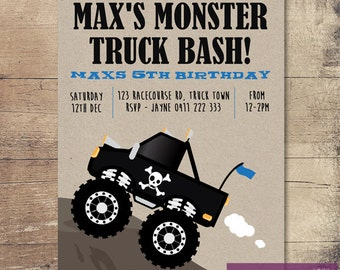 Printable Monster Truck Birthday Invitation / Customisable Digital File / JPG or PDF / Black, Blue, Kraft card, brown paper