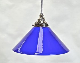 Vintage handmade Italian blue glass cooli pendant light hanging lamp shade SNSR4