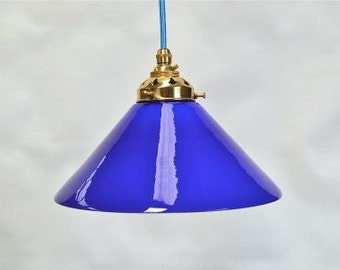Vintage handmade Italian blue glass cooli pendant light hanging lamp shade SBG3