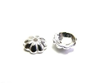10 pc. Solid Sterling Silver Flower Bead Caps 6mm