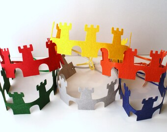 Knight Party Favors Crowns/King Crowns/Castle Crowns - Stiff Felt Party Crowns/Party Favors-Set of 6-24