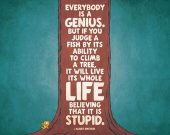 Albert Einstein Quote About Genius. Print/Poster. (002369)