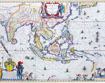 Willem Blaeu: Map of South East Asia. Antique/Vintage 17th Century Map. Fine Art Print/Poster (003873)