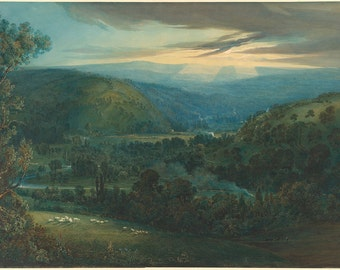 Joseph Mallord William Turner: Dawn in the Valleys of Devon. Fine Art Print/Poster. (003543)