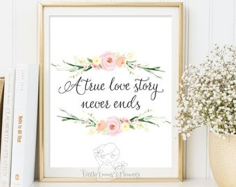 A true love story never ends print love typography printable wall decor poster inspirational art love quote watercolor print wall decor 3-92