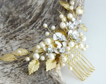 Gold Bridal hair comb, Gold Bridal headpiece, Bridal hair piece, Wedding hair piece, Wedding hair comb, Wedding headpiece, Pearl headpiece