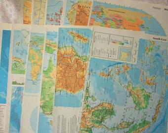 Set of 13 Atlas Pages - vintage atlas pages - vintage world atlas - vintage map pages