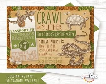 Reptile Birthday Invitation / Reptile Party Invitation / Boys Birthday Invitation / Snake Party / Reptile Encounter Invitation / PRINTABLE
