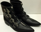 4 Bat Winklepicker Boots in Black Leather