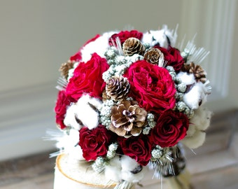Wed in Winter dried flower bouquet, preserved red roses, cotton, pinecones, wedding flowers, winter wedding, wheat, bridesmaids bouquet