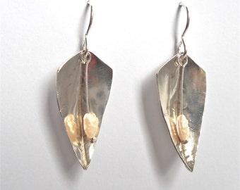 Silver Seed Pearl Earrings