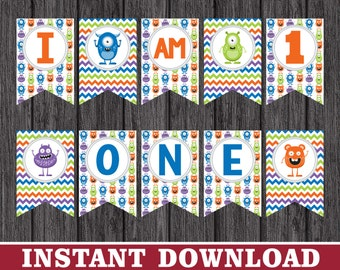 """Monster Birthday High Chair Banner - """"I AM 1"""" Little Monster Party Decorations - Printable Digital File - INSTANT DOWNLOAD"""