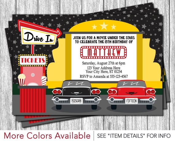 Drive in movie party invitation drive in birthday invitations il570xn filmwisefo