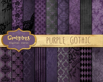 Purple Gothic digital paper, skull damask Halloween scrapbook papers, distressed grunge textures, goth backgrounds, victorian vintage lace