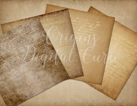 Gold Letters Digital Paper Vintage Handwritten Letters