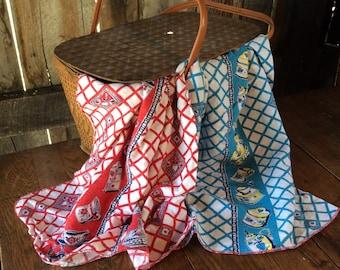 Vintage Blue Dish Towel, Vintage Linens, Vintage Fabric, Vintage Kitchen Decor, Vintage Kitchen Towel