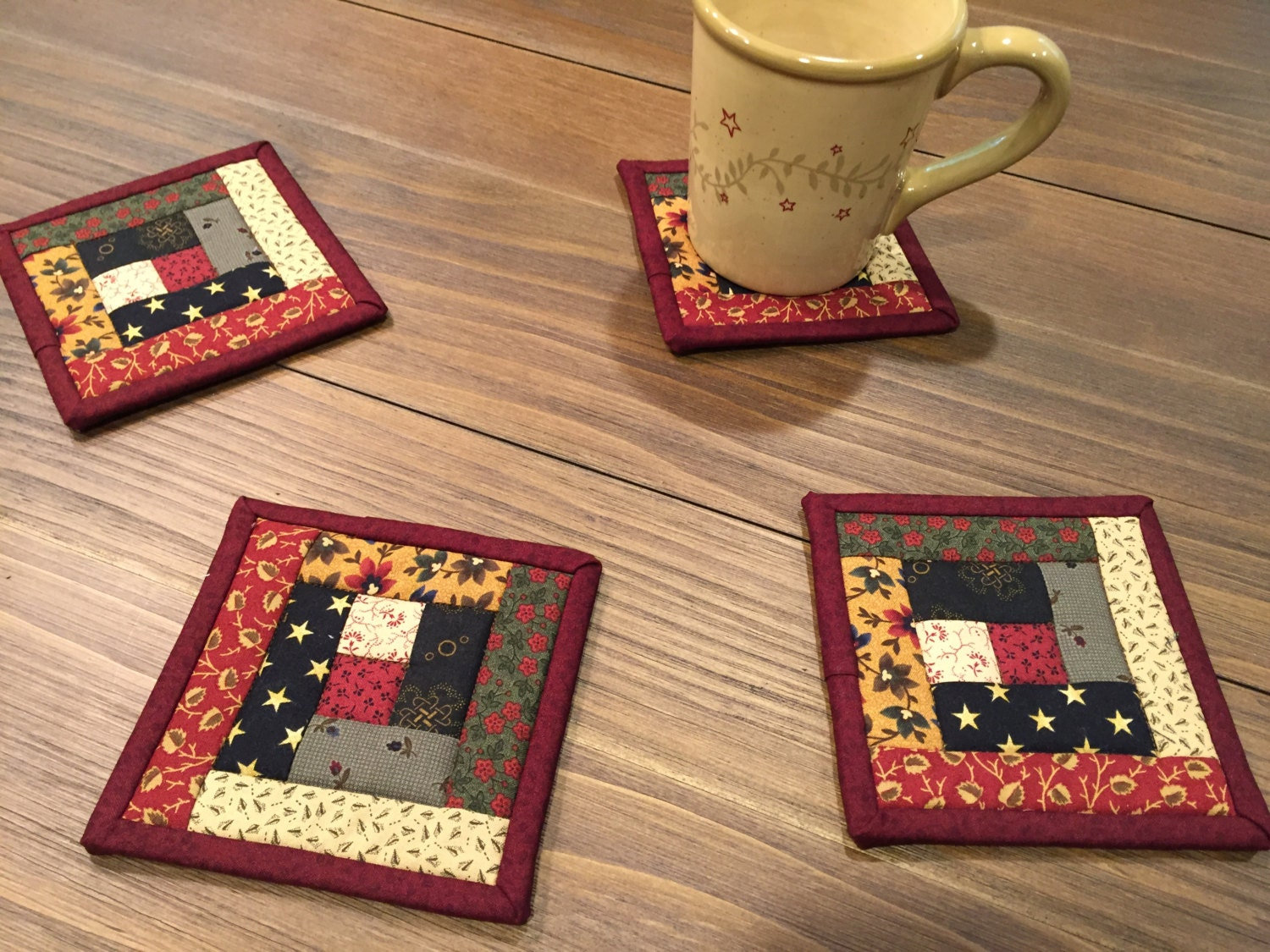 Log Cabin Coasters Quilted Mug Rugs Item 1413